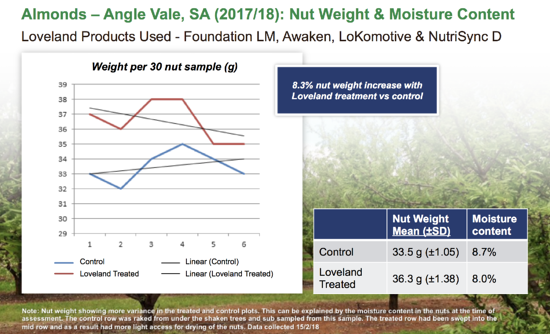 almond nut weight and moisture